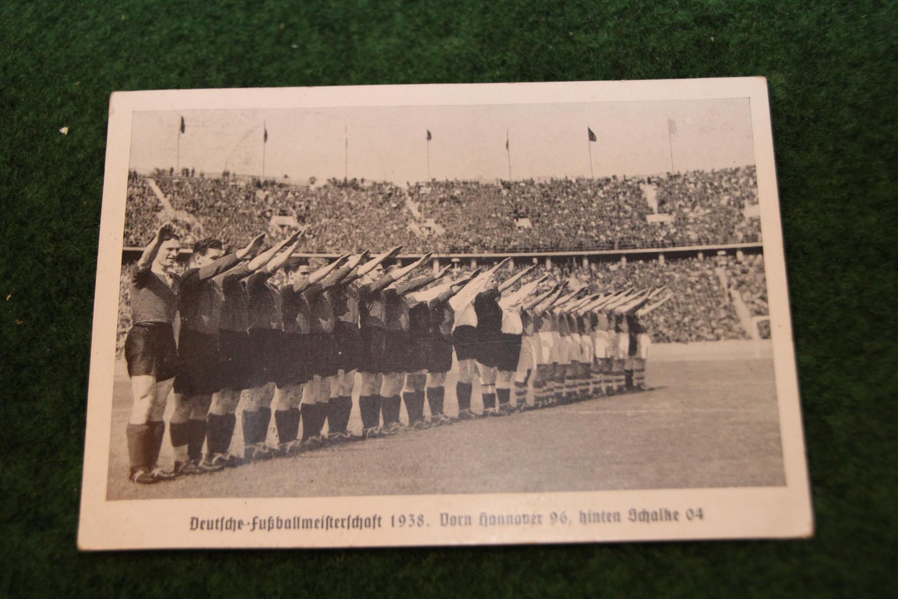 Postkarte zur Deutschen Meisterschaft 1938 von Hannover 96.