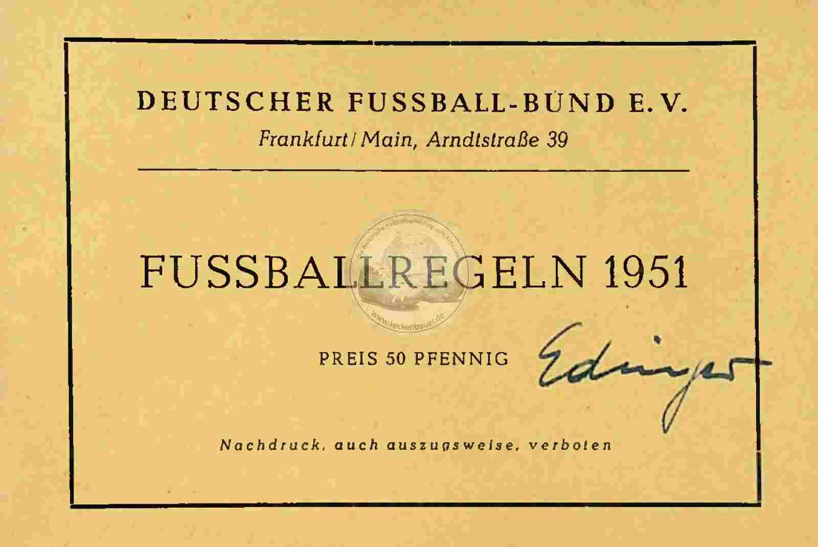 1951 Fussballregeln DFB