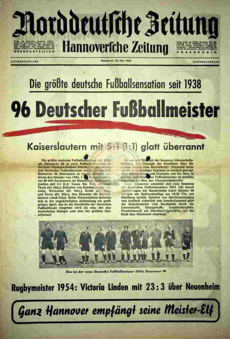 1954 Mai 23. Norddeutsche Zeitung Sonderausgabe