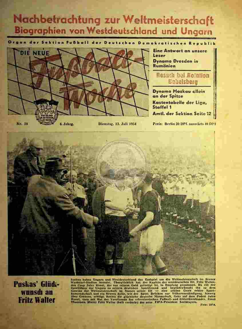 1954 Juli 13. Die neue Fußball-Woche Nr 28