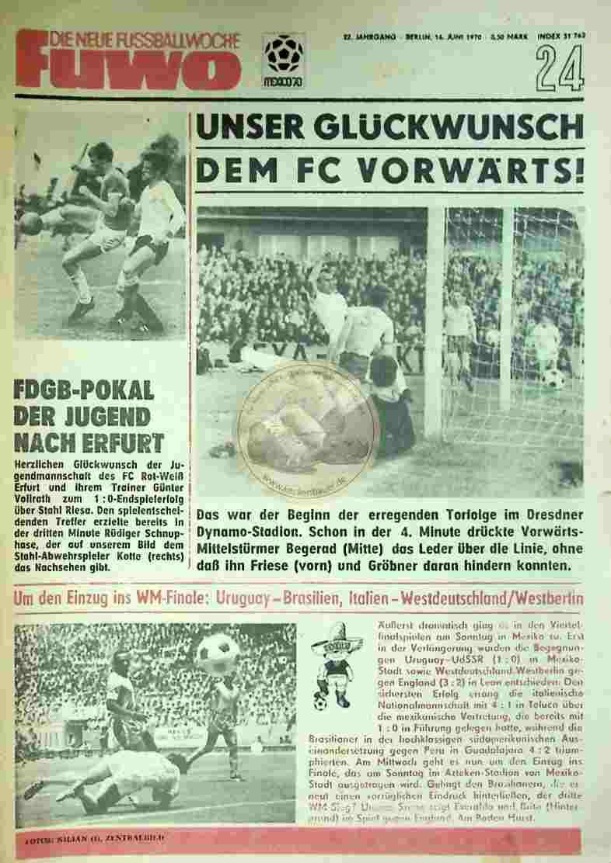 1970 Juni 16. Die neue Fussballwoche fuwo Nr. 24