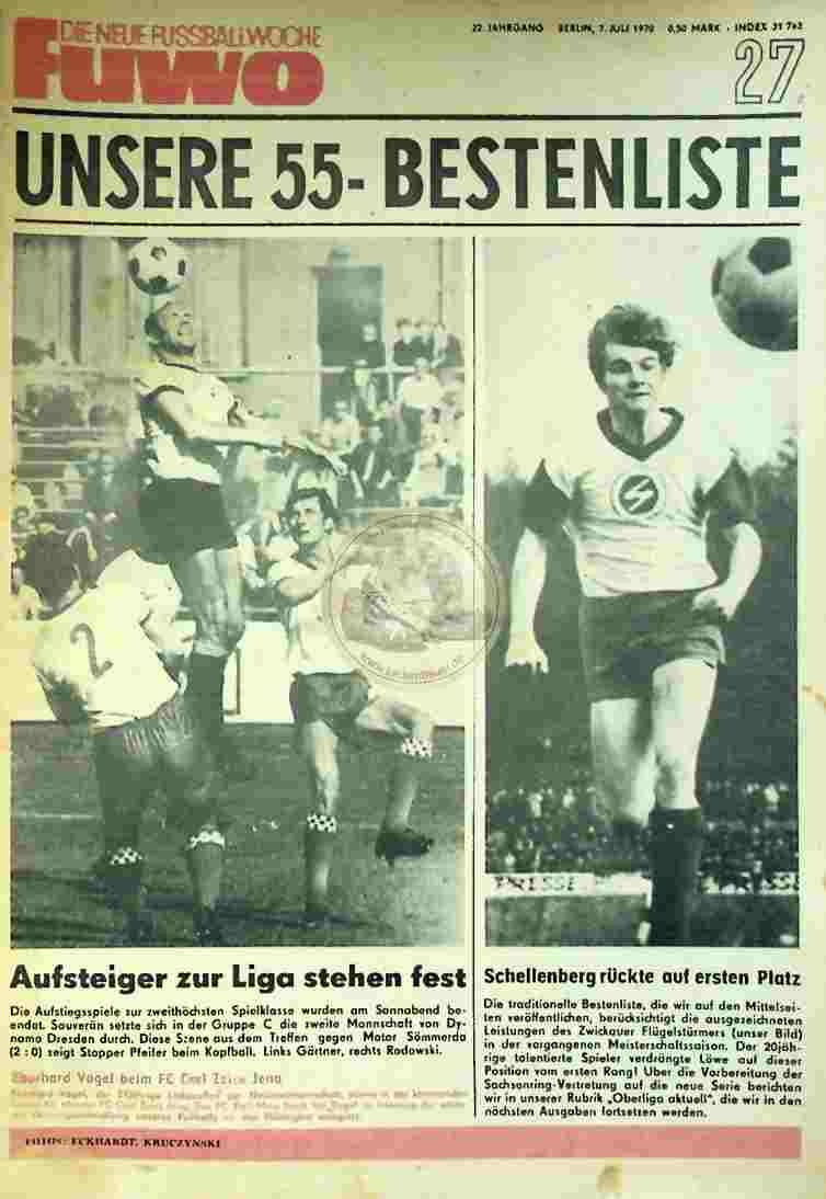 1970 Juli 7. Die neue Fussballwoche fuwo Nr. 27