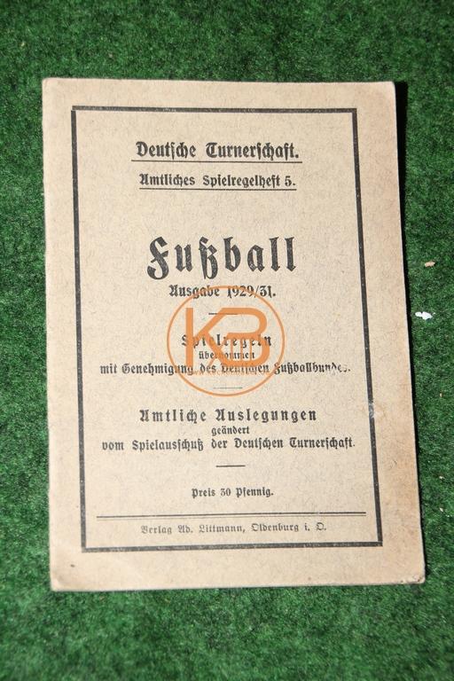 Fußball Spielregelheft von 1929/31