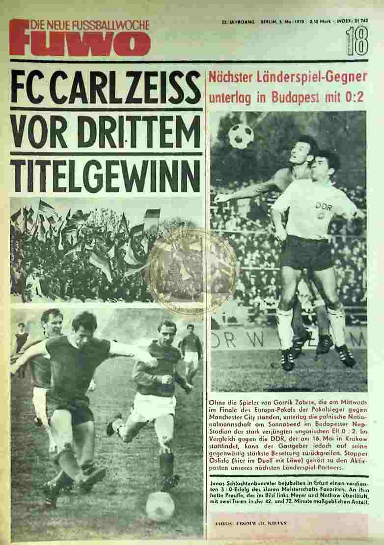 1970 Mai 5. Die neue Fussballwoche fuwo Nr. 18