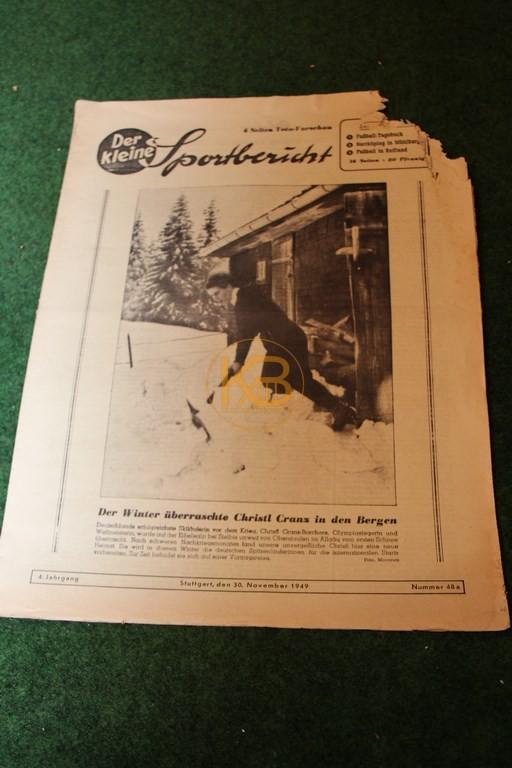 Der kleine Sportbericht vom 30.11.1949, leider in einem sehr schlechten Zustand.