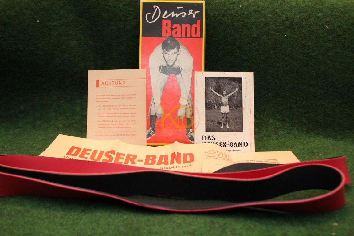 Original Deuser Band inkl Trainingsplakat, Hinweiszetteln und Originalverpackung aus den späten 60ern.