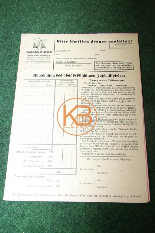 Original Abrechnungsformular vom Reichsfachamt Fußball Berlin ca. 1935