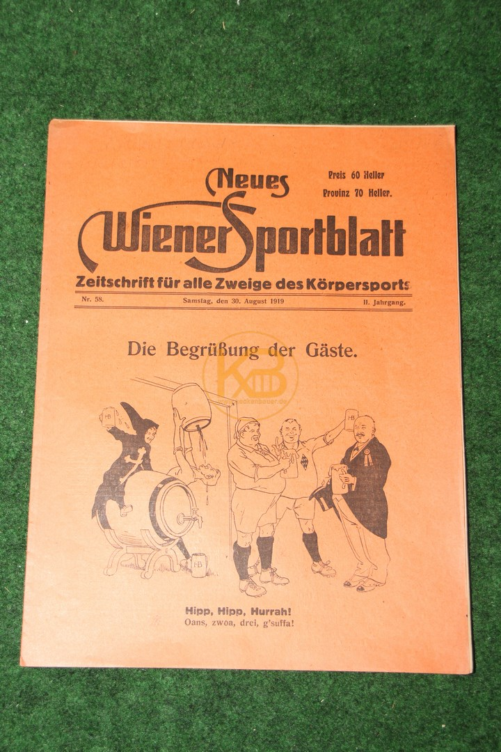 Neues Wiener Sportblatt vom 30.08.1919.