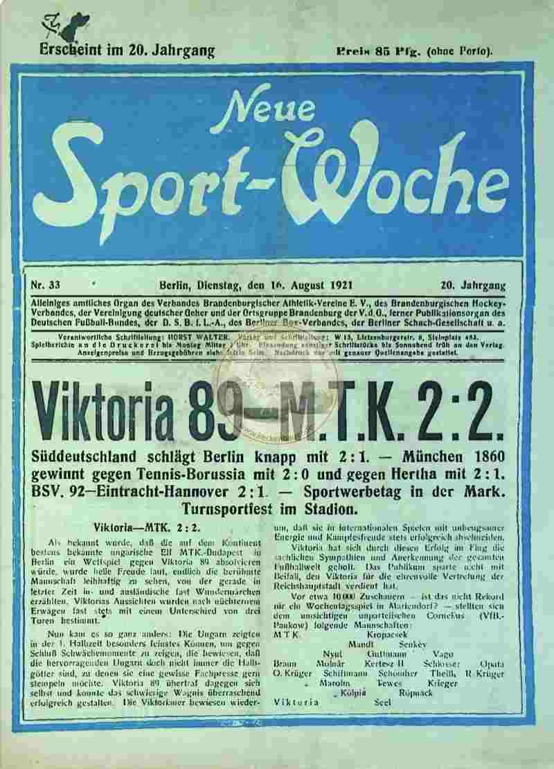 1921 August 16. Neue Sport-Woche Nr. 33