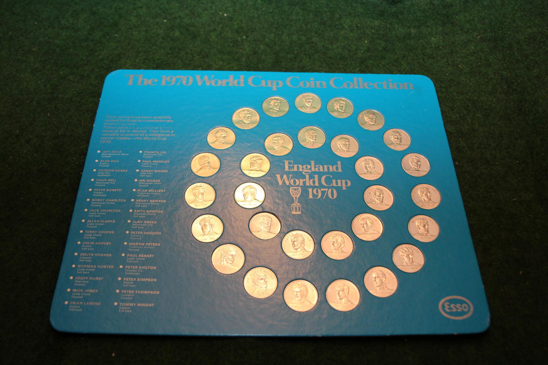 Sammelmünzen zur Weltmeisterschaft 1970 in Mexiko der englischen Spieler.
