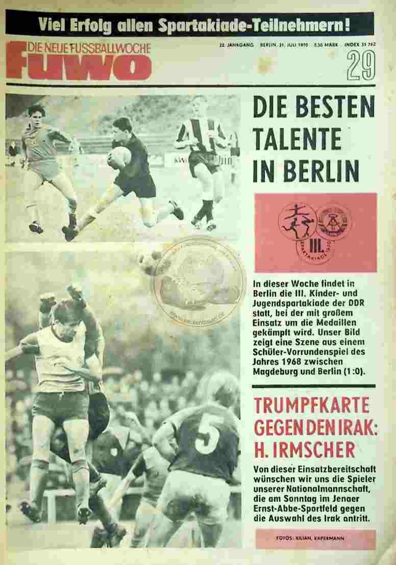 1970 Juli 21. Die neue Fussballwoche fuwo Nr. 29