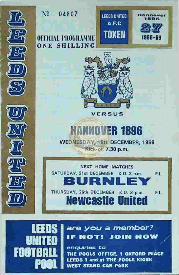 1968 Dezember 18. Programm Leeds United Hannover 96