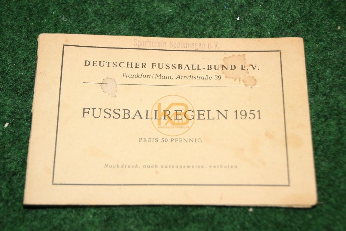 Fußballregeln 1951 vom Deutschen Fussball Bund.