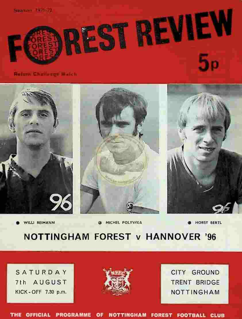 1971 August 7. Programm Nottingham Forest Hannover 96
