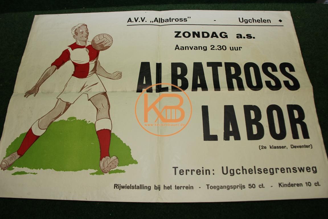 Spielankündigungsplakat aus den 1960ern. Van Albatros gegen Labor Niederlande.