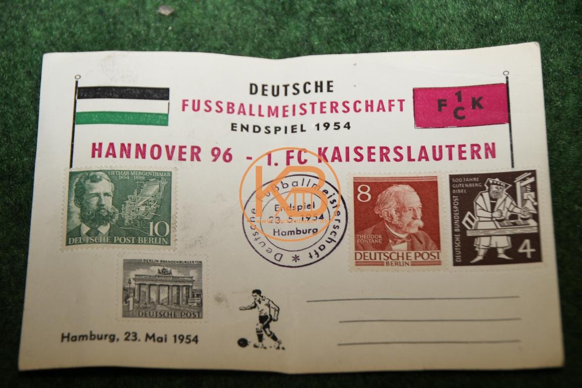 Erinnerungspostkarte vom Finale um die deutsche Fußballmeisterschaft 1954 zwischen Hannover 96 und dem 1. FC Kaiserslautern