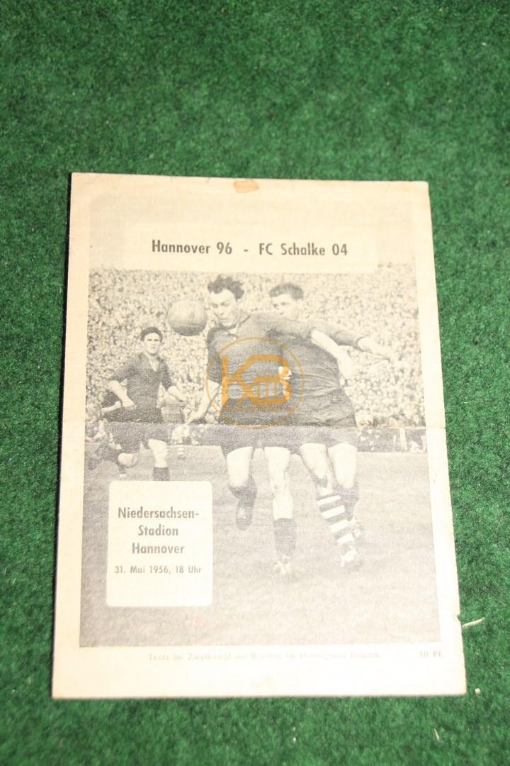 Programm von der deutschen Meisterschaft 1955/56 vom Spiel Hannover 96 gegen Schalke 04