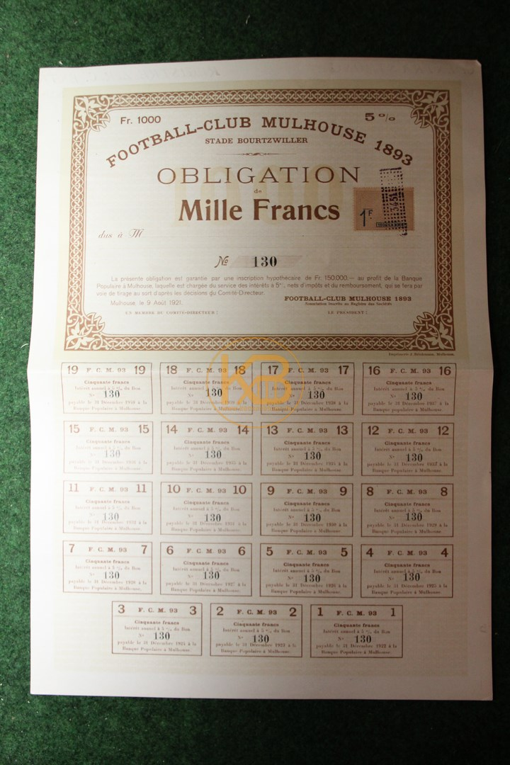 5 % Obligation über 1000 Franc vom 9. 8.1921 vom FC Mulhouse ehemaliges Mitglied des DFB.