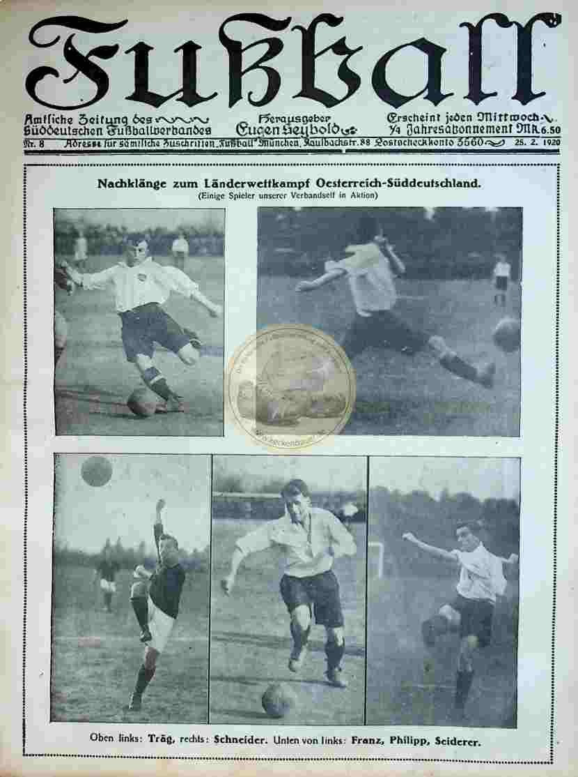 1920 Februar 25. Fußball Nr.8