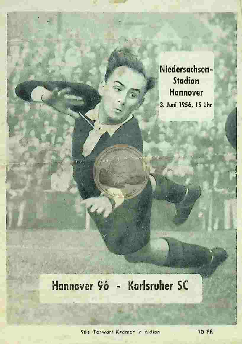1956 Juni 3. Programheft Hannover vs Karlsruhe