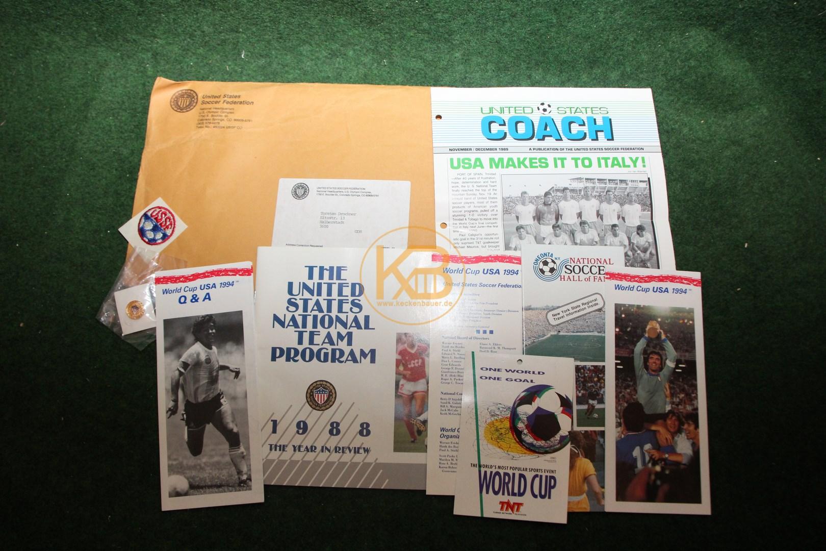 Originalunterlagen die von der US Soccer Federation zur WM 1994 auf Anfrage vorher zugesandt wurden.