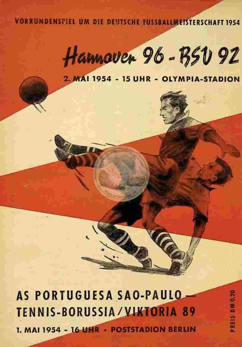 1954 Mai 2. Programm Hannover 96 - BSV 92