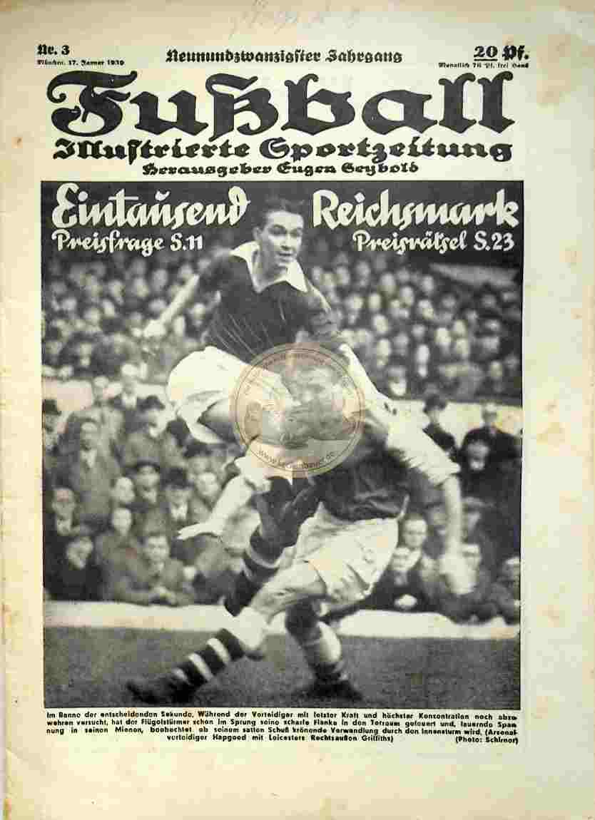 1939 Januar 17. Fußball Nr. 3