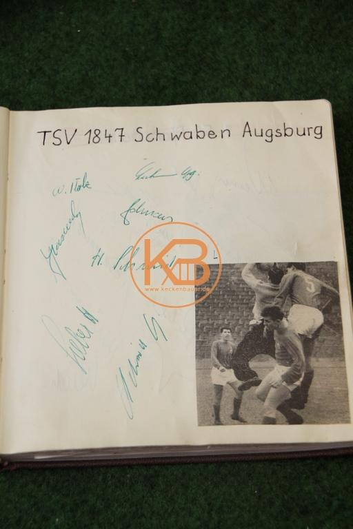 Zeitungsbild von Schwaben Augsburg mit den original Autogrammen aus dem Jahr 1963