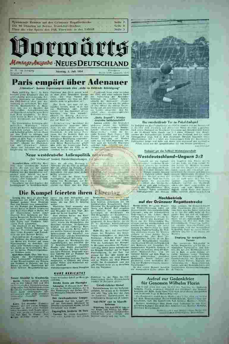 1954 Juli 5. Vorwärts Neues Deutschland
