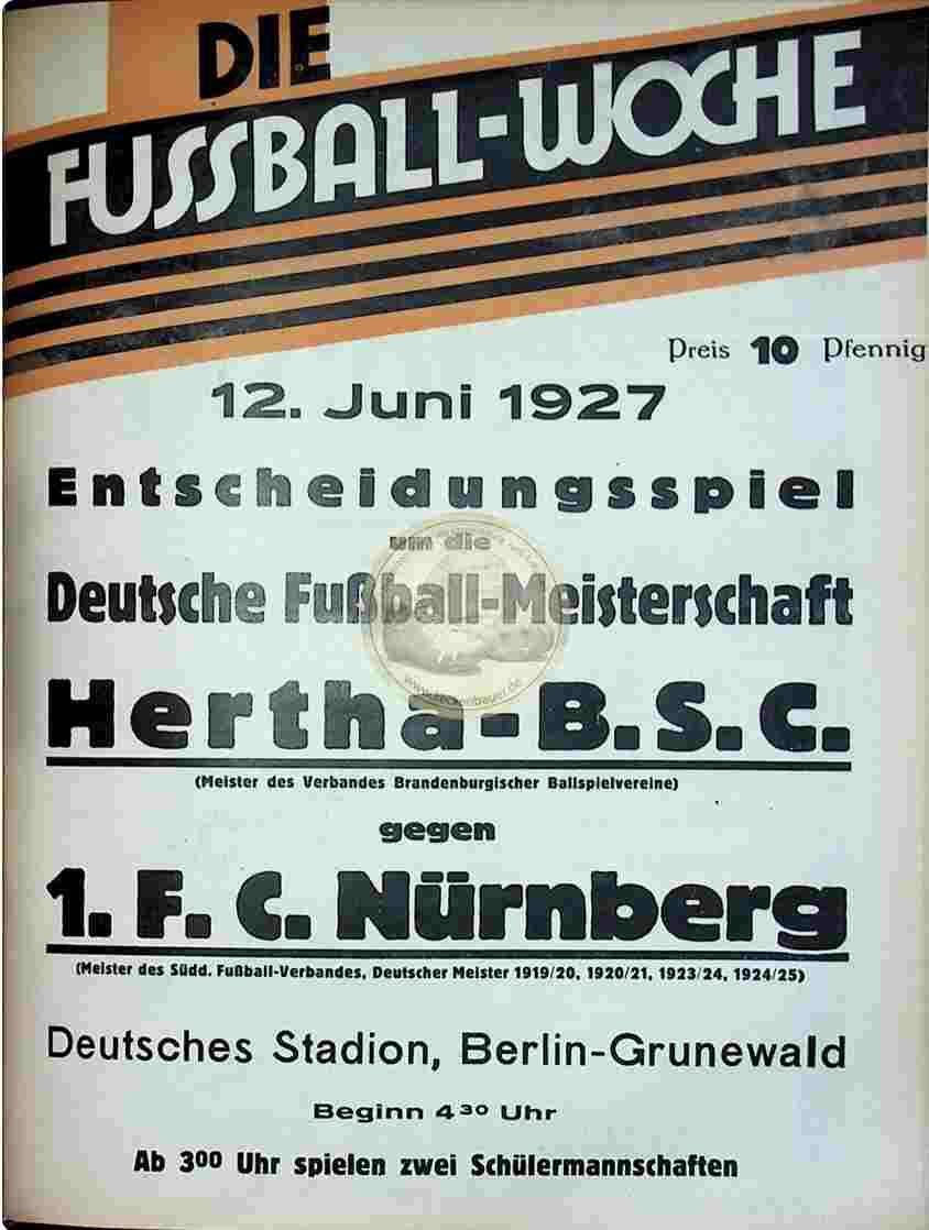 1927 Juni 12. Fussball-Woche DM Finale