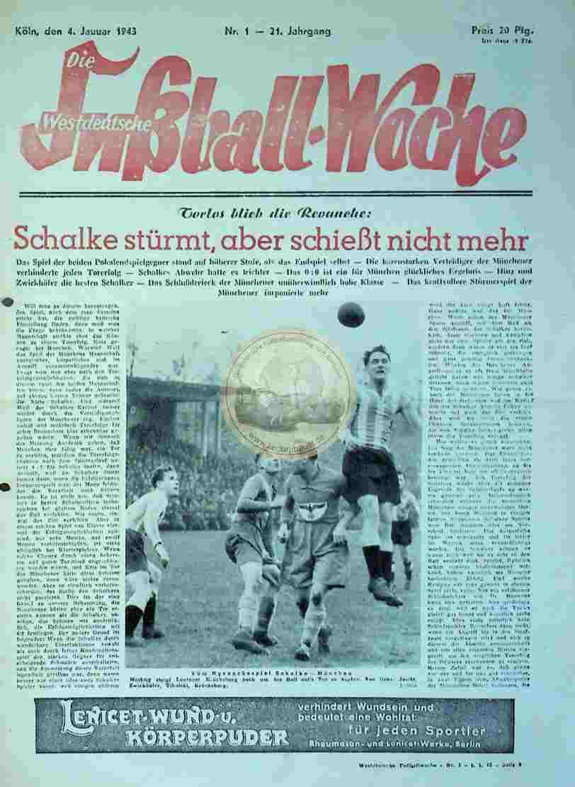 1943 Januar 4. Die westdeutsche Fußball Woche Nr.1