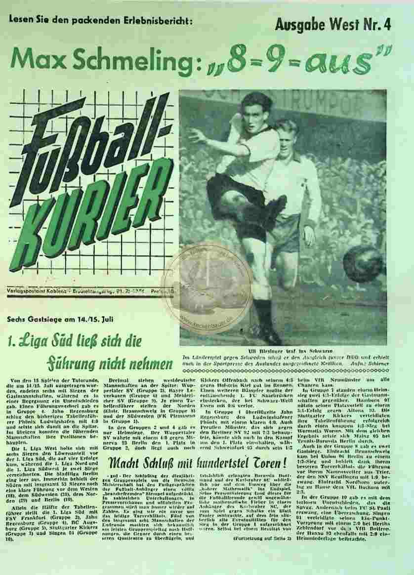 1956 Juli 21. Fußballkurier Nr.4