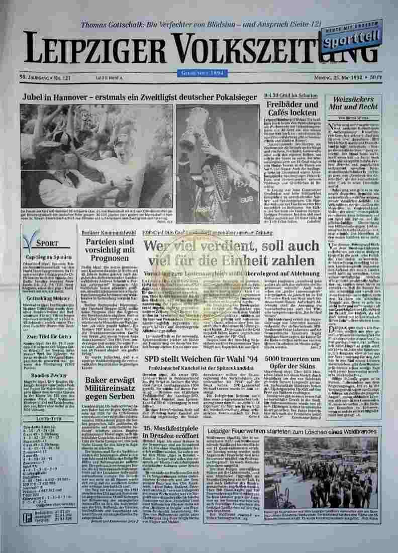 1992 Mai 25. Leipziger Volkszeitung (Auszug)
