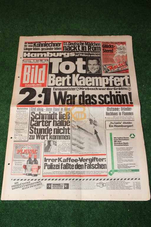 Bild-Zeitung am Tag nach dem Gewinn der Europameisterschaft 1980.
