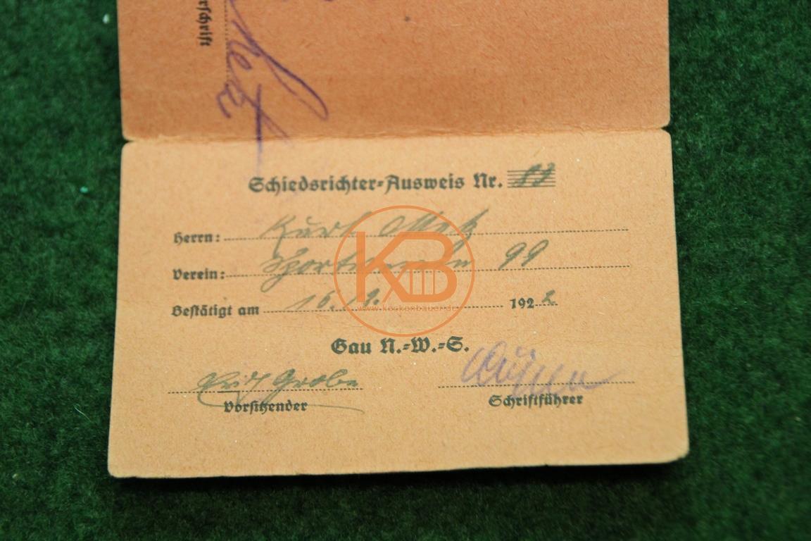 Schiedsrichter Ausweis aus dem jahr 1922 2/2