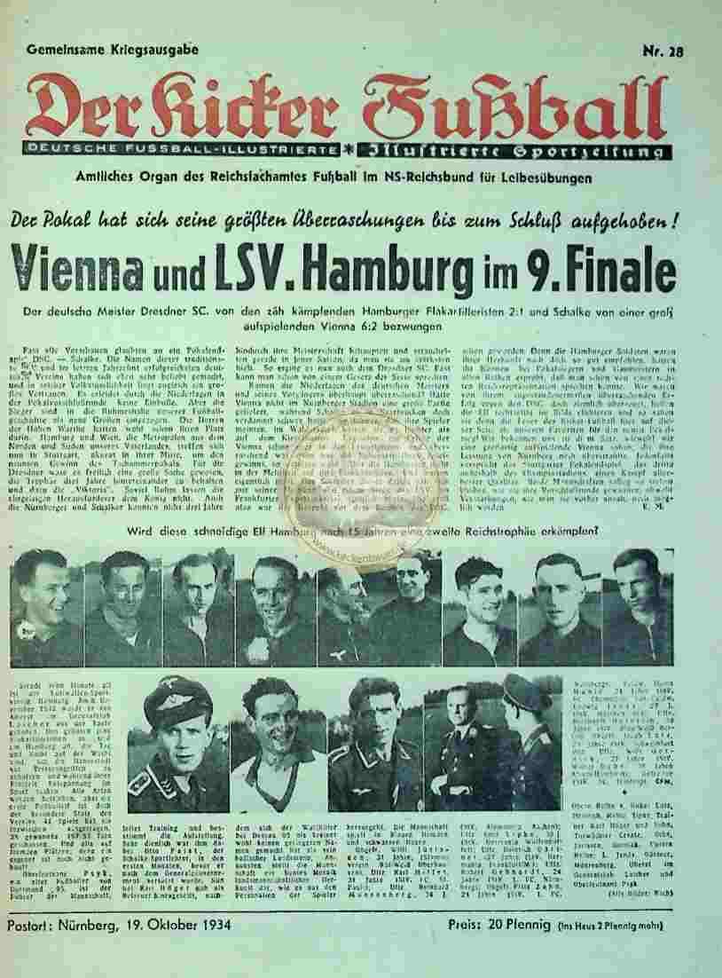 1934 Oktober 19. Gemeinsame Kriegsausgabe Der Kicker Fußball Nr. 28