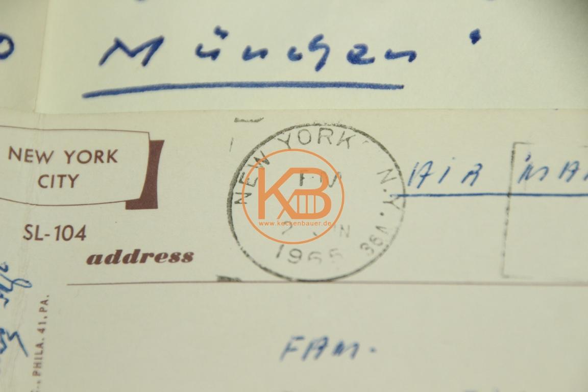 Postkarte mit den original Autogrammen von 1860 München von der New York Reise aus dem Jahr 1965 2/2