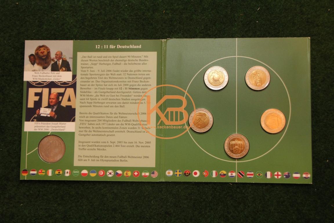 2 € Fussball-Proben-Satz 2006 zur Weltmeisterschaft 2/2