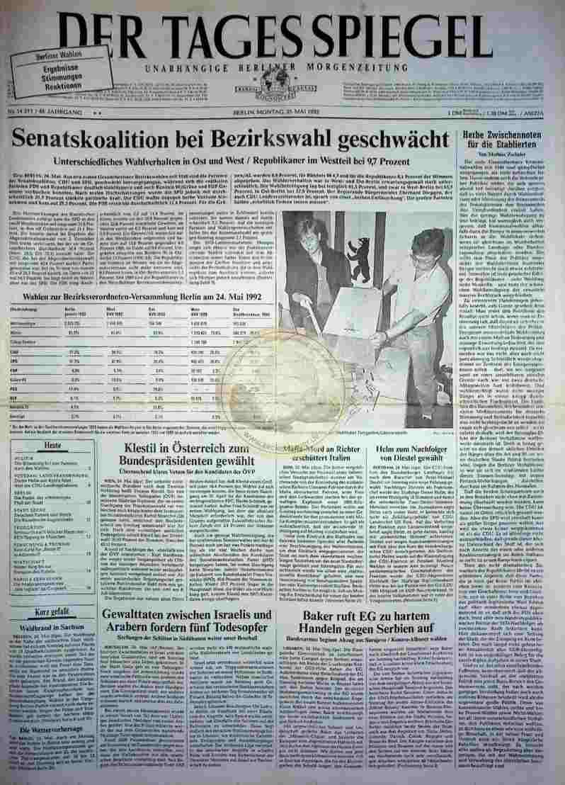 1992 Mai 25. Der Tagesspiegel (Auszug)