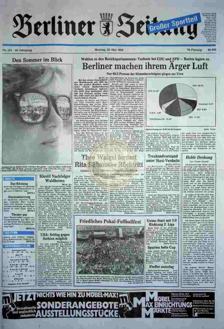 1992 Mai 25. Berliner Zeitung (Auszug)