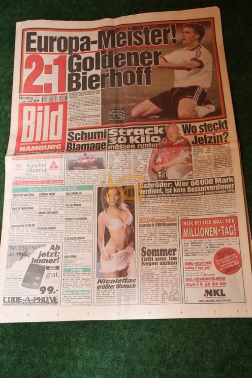 Bild-Zeitung am Tag nach dem Gewinn der Europameisterschaft 1996.