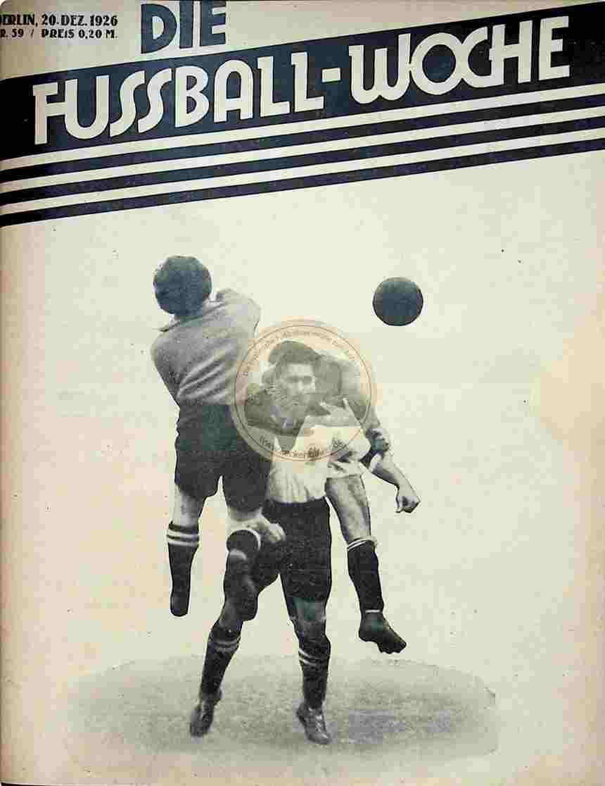 1926 Dezember 20. Fussball-Woche Nr. 59