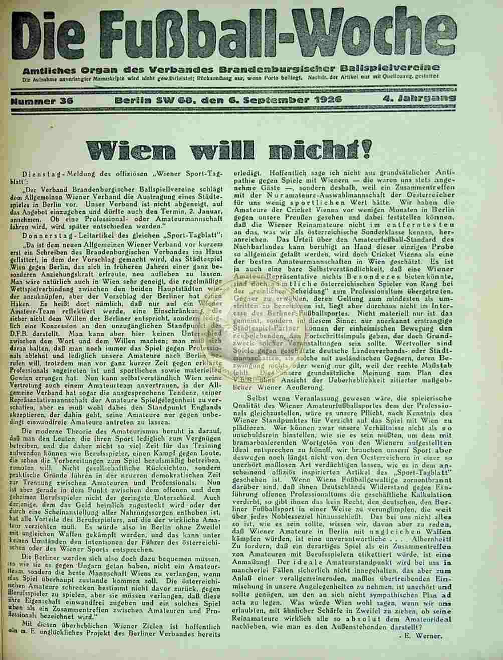 1926 September 6. Fussball-Woche Nr. 36