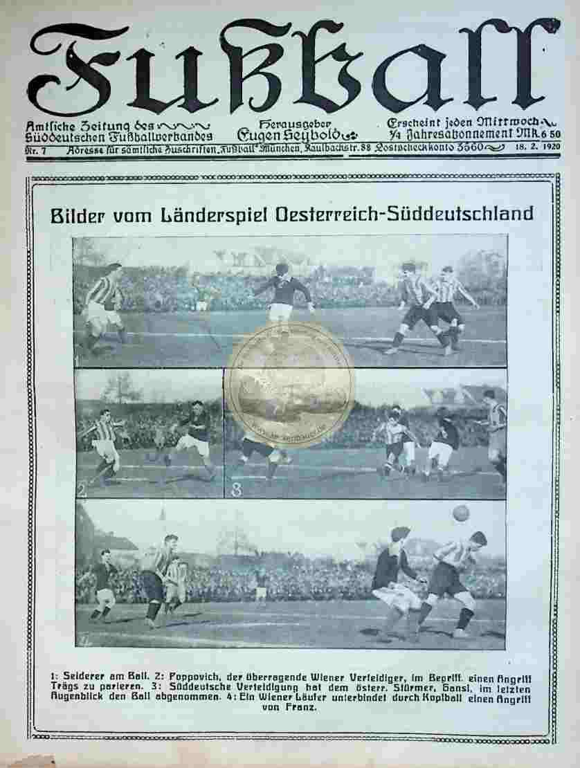 1920 Februar 18. Fußball Nr.7