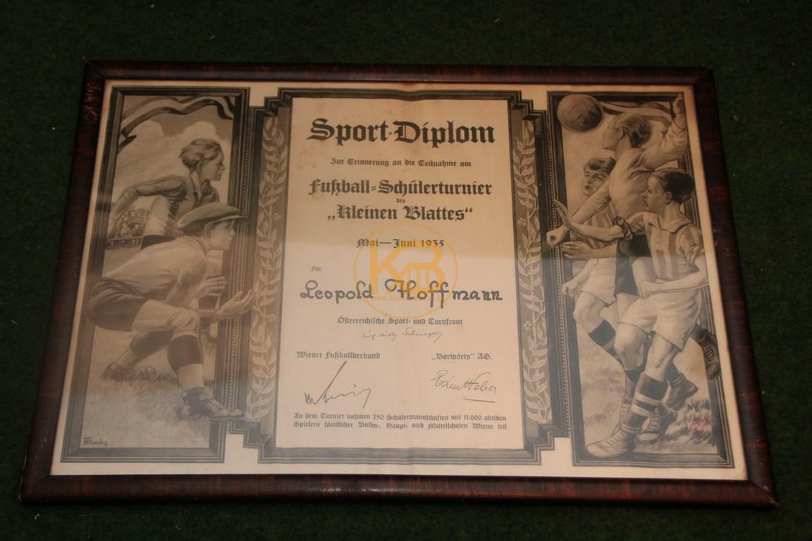 Sport Diplom Fußball Schülerturnier 1935 in Wien