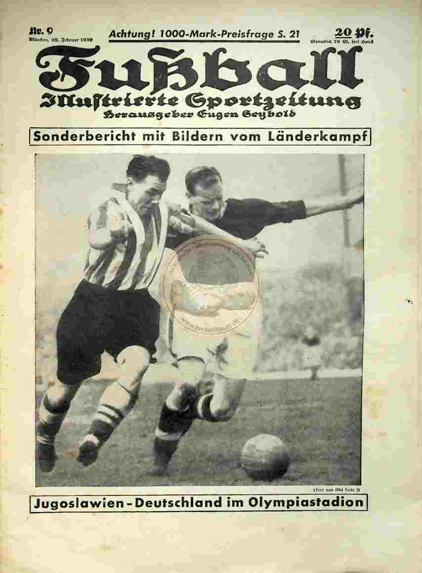 1939 Februar 28. Fußball Nr. 9