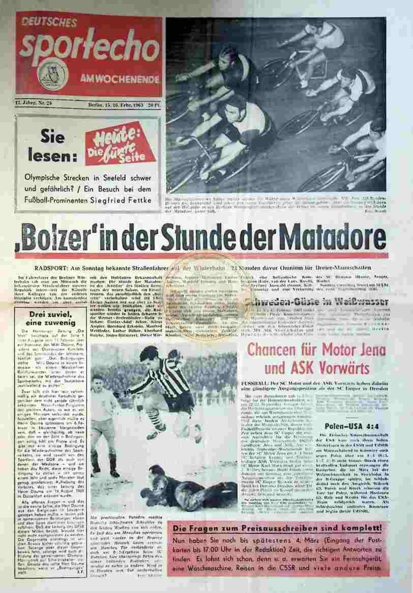 1963 Februar 15./16. Sportecho am Wochenende Nr. 29
