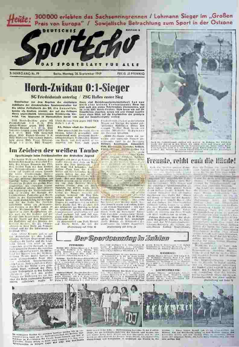 1949 September 26. Sportecho Nr. 77 Richtig