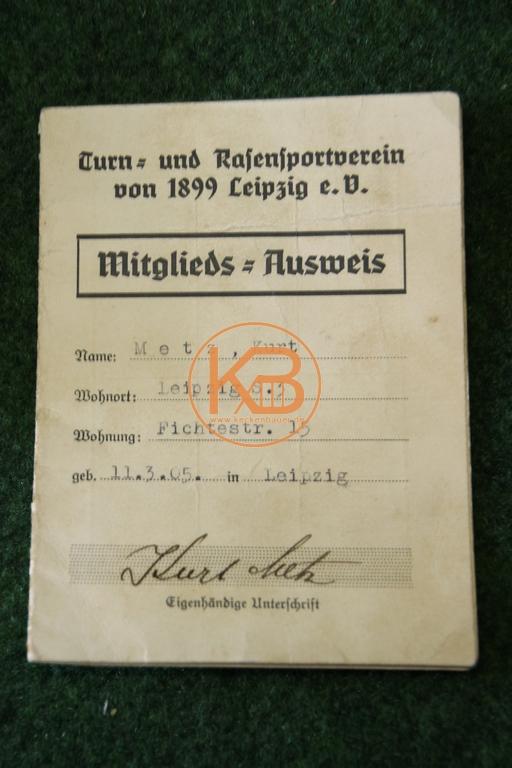 Mitgliedsausweis vom Turn und Rasensportverein 1899 Leipzig e.V. aus dem Jahr 1939 1/2