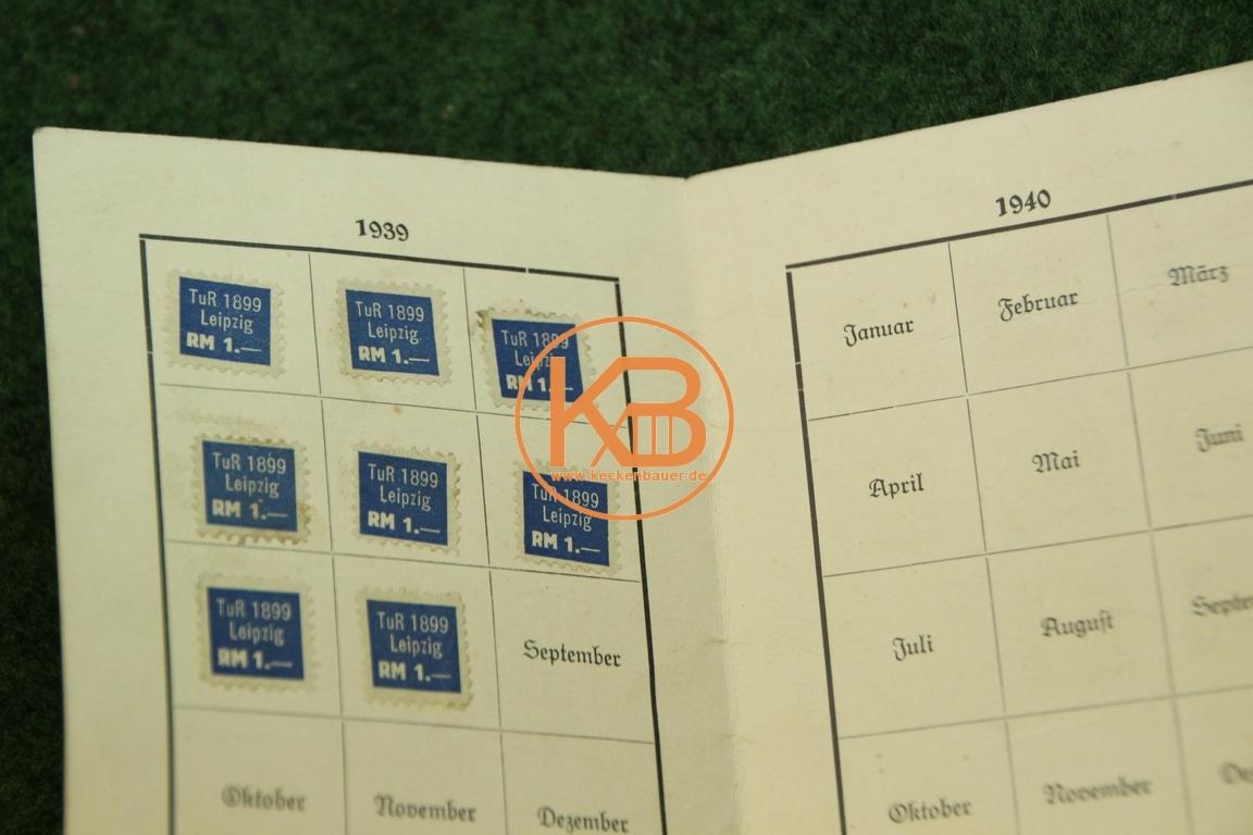 Mitgliedsausweis vom Turn und Rasensportverein 1899 Leipzig e.V. aus dem Jahr 1939 2/2